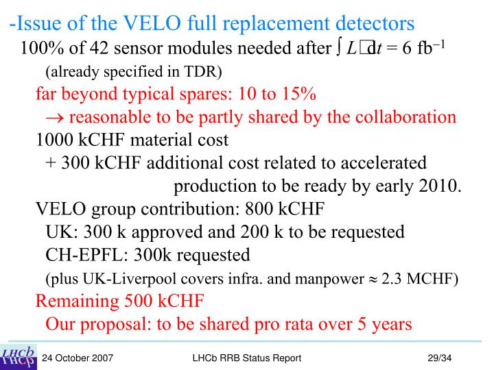-Issue of the VELO full replacement detectors
