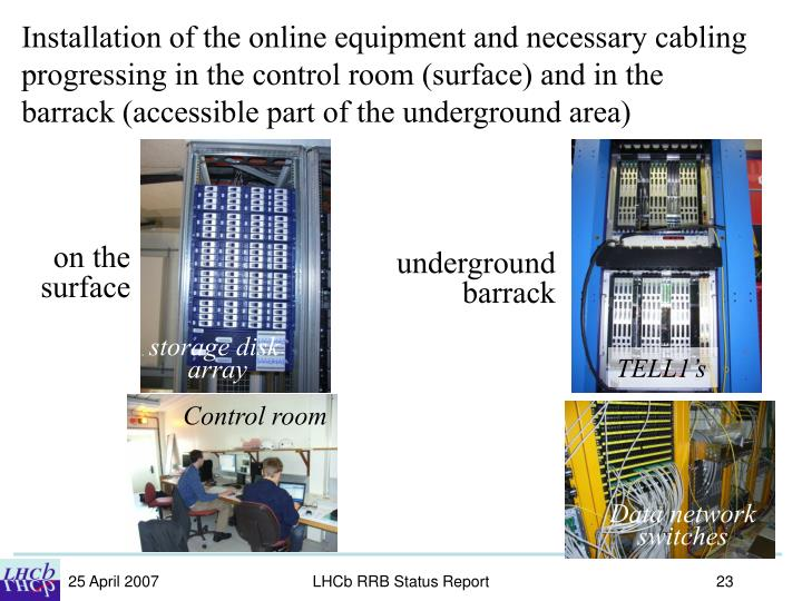 Installation of the online equipment and necessary cabling