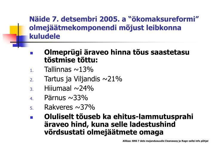 """Näide 7. detsembri 2005. a """"ökomaksureformi"""" olmejäätmekomponendi mõjust leibkonna kuludele"""