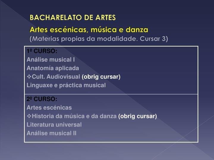 BACHARELATO DE ARTES