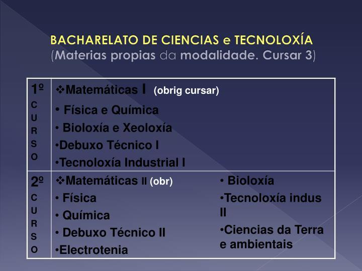 BACHARELATO DE
