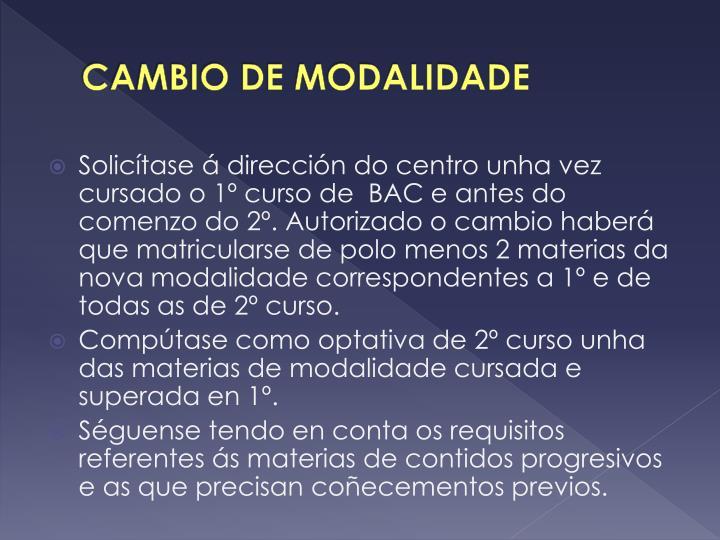 CAMBIO DE MODALIDADE
