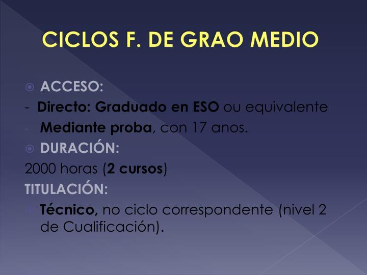 CICLOS F. DE GRAO MEDIO
