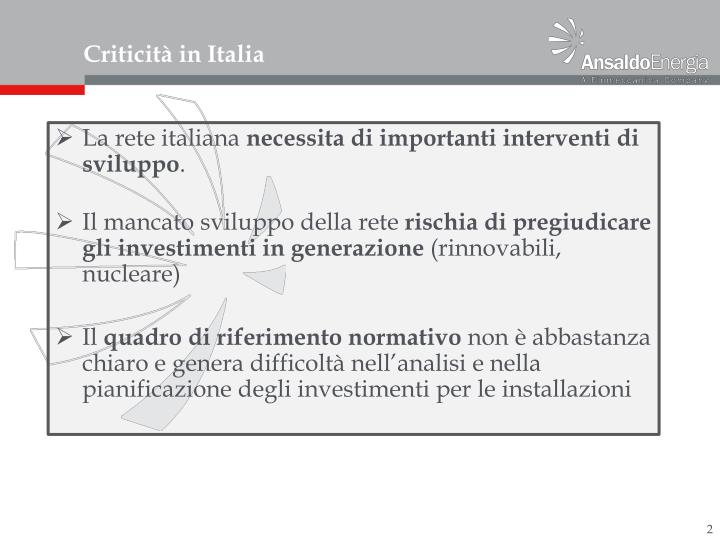 Criticit in italia