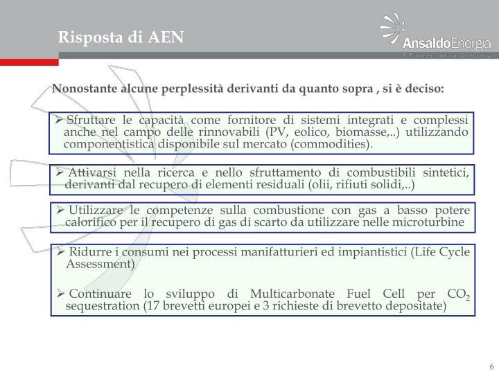 Risposta di AEN