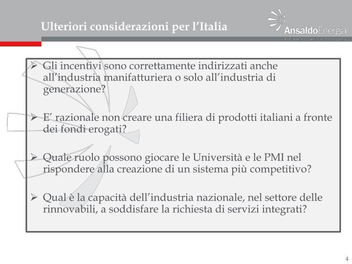Ulteriori considerazioni per l'Italia