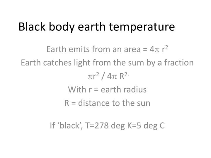 Black body earth temperature
