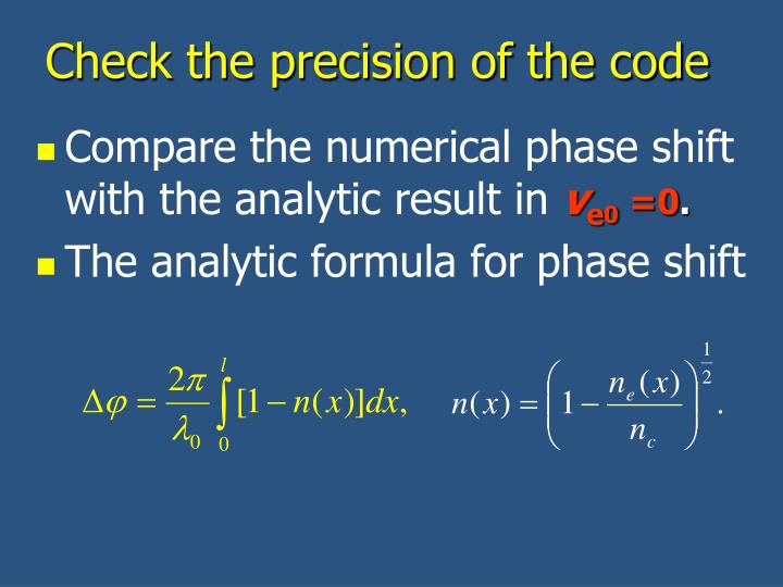 Check the precision of the code