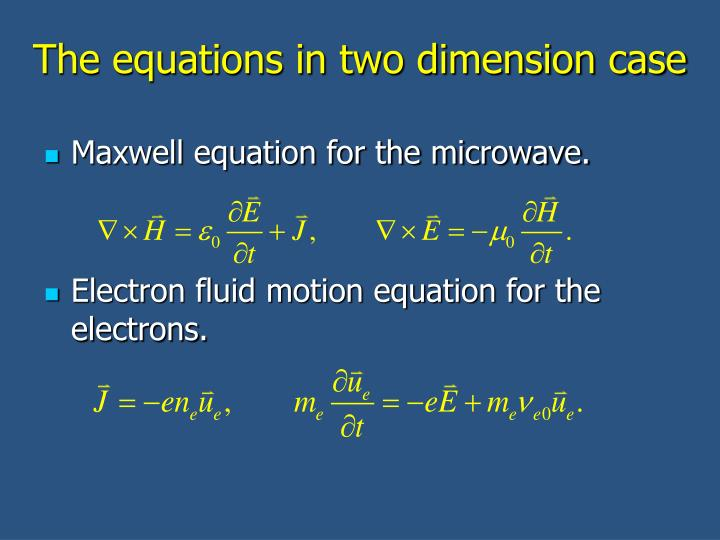 The equations in two dimension case