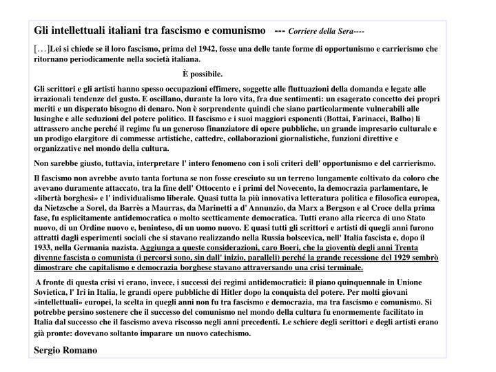 Gli intellettuali italiani tra fascismo e comunismo   ---