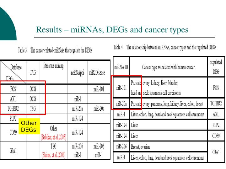 Results – miRNAs, DEGs and cancer types