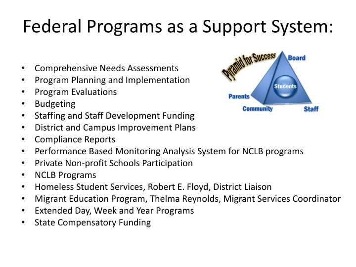 Federal Programs as a Support System: