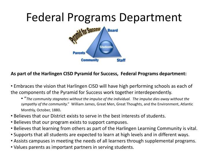 Federal Programs Department