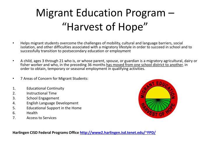 "Migrant Education Program –    ""Harvest of Hope"""