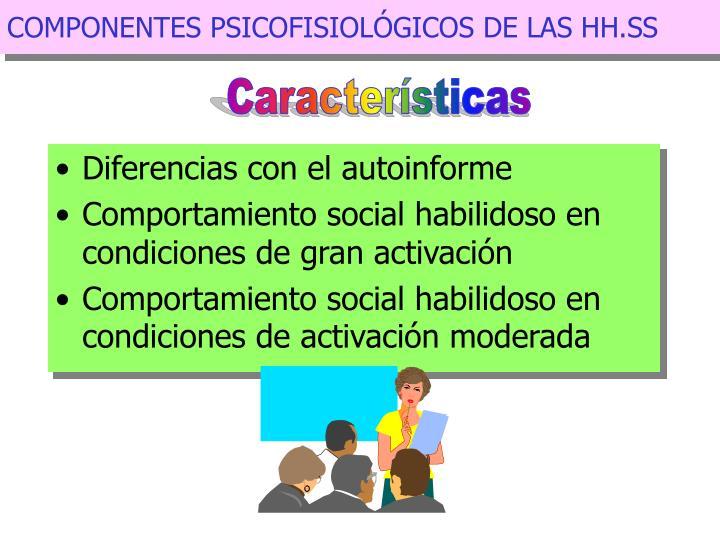 COMPONENTES PSICOFISIOLÓGICOS DE LAS HH.SS
