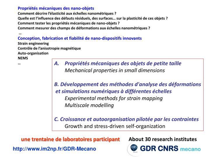 Propriétés mécaniques des nano-objets