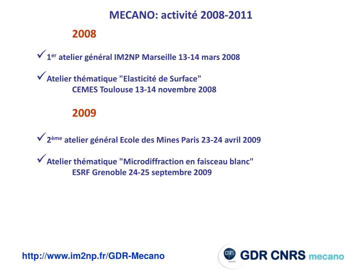 MECANO: activité 2008-2011
