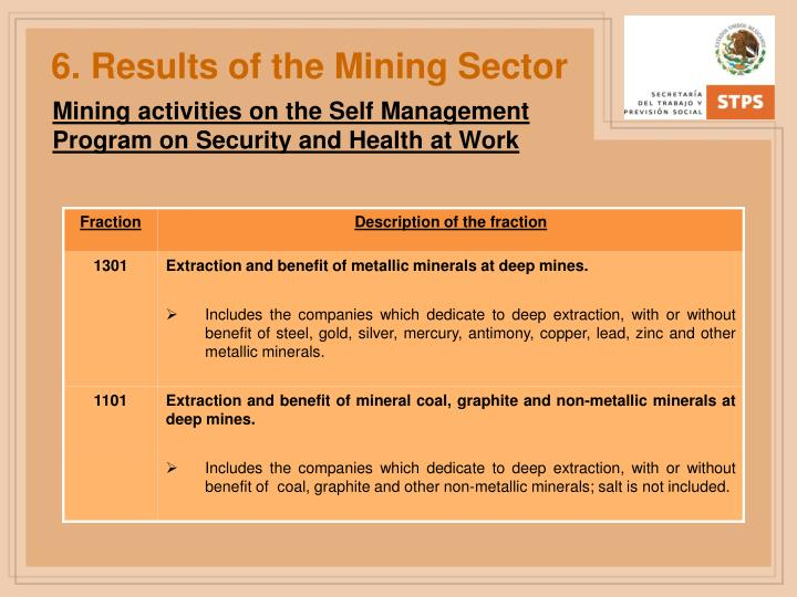 6. Results of the Mining Sector