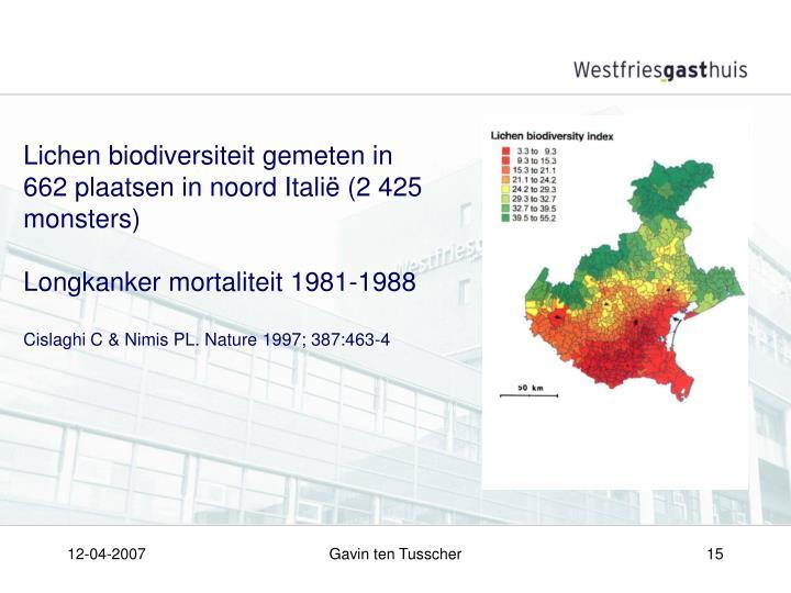 Lichen biodiversiteit gemeten in 662 plaatsen in noord Italië (2 425 monsters)