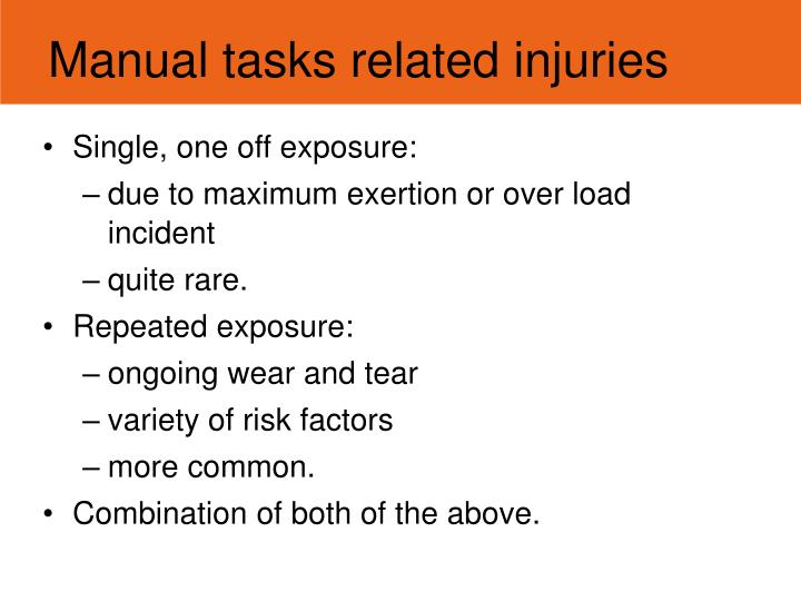 Manual tasks related injuries