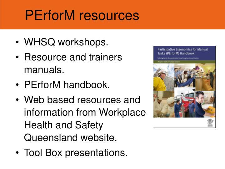 PErforM resources
