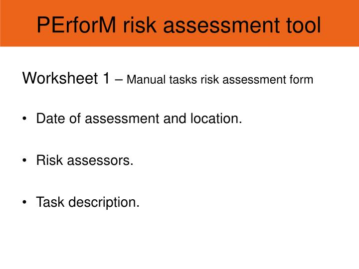 PErforM risk assessment tool
