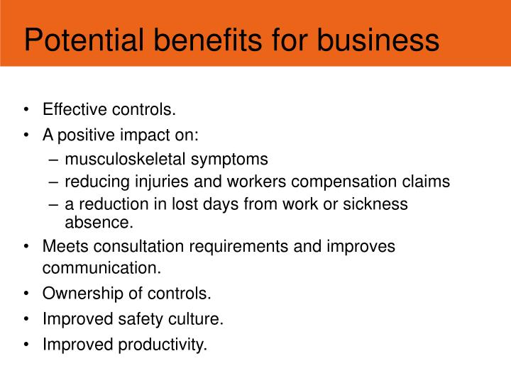 Potential benefits for business
