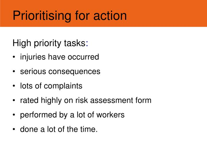 Prioritising for action