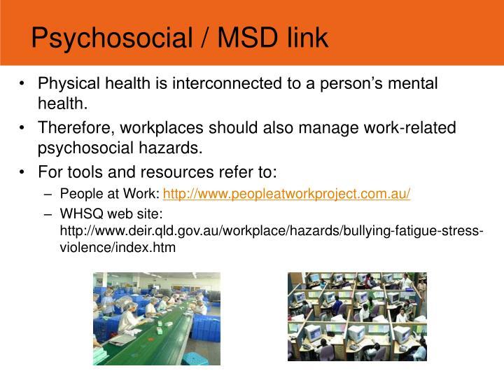 Psychosocial / MSD link