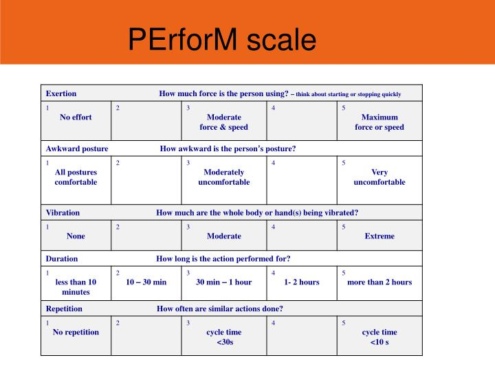 PErforM scale