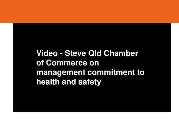 Video - Steve Qld Chamber of Commerce on management commitment to health and safety