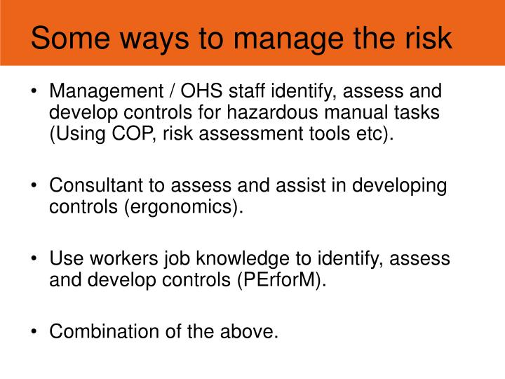 Some ways to manage the risk
