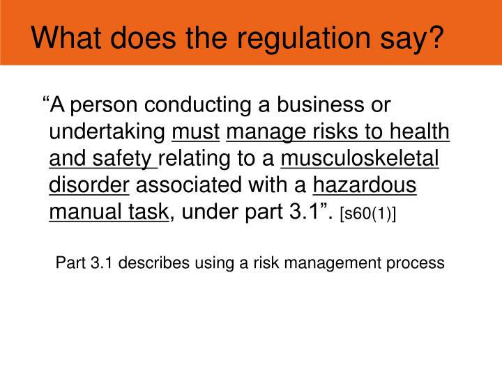 What does the regulation say?