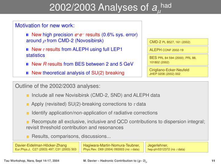 2002/2003 Analyses of