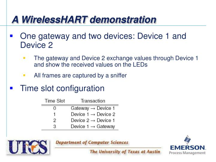 A WirelessHART demonstration