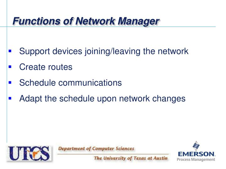 Functions of Network Manager