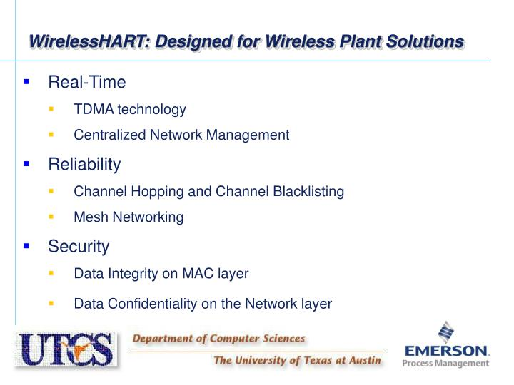 WirelessHART: Designed for Wireless Plant Solutions