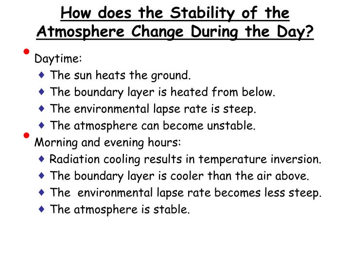How does the Stability of the Atmosphere Change During the Day?