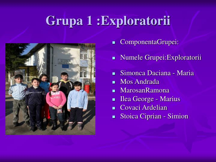 Grupa 1 :Exploratorii