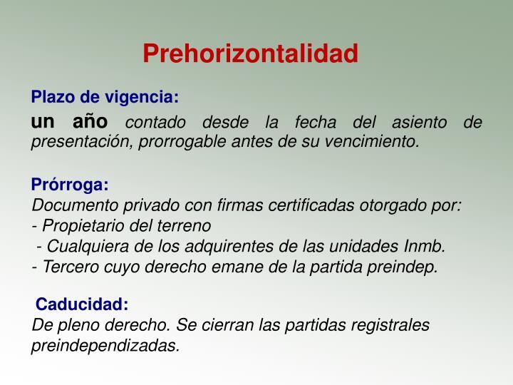 Prehorizontalidad