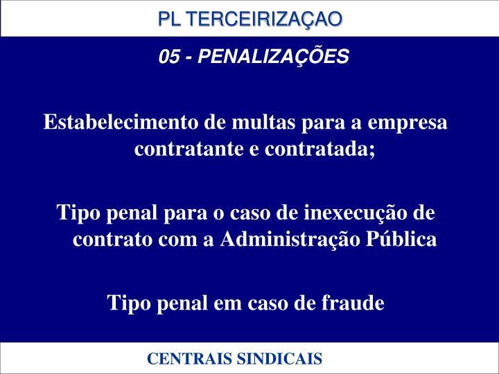 Estabelecimento de multas para a empresa contratante e contratada;