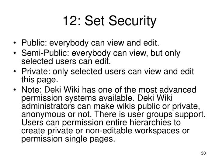 12: Set Security