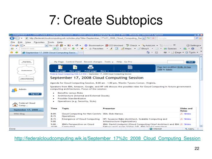 7: Create Subtopics