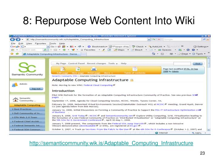 8: Repurpose Web Content Into Wiki