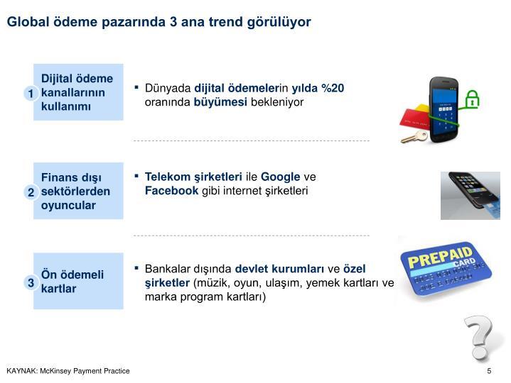 Global ödeme pazarında 3 ana trend