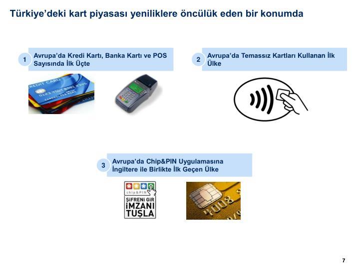 Türkiye'deki kart piyasası yeniliklere öncülük eden bir konumda
