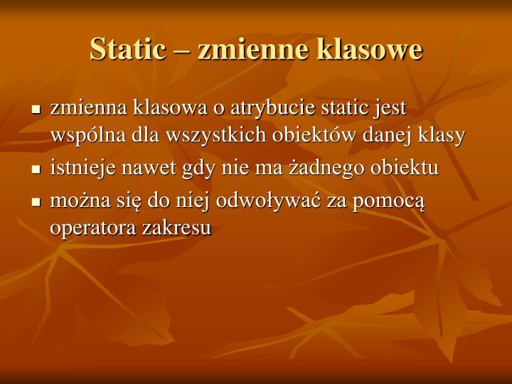 Static – zmienne klasowe