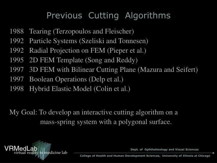 Previous  Cutting  Algorithms