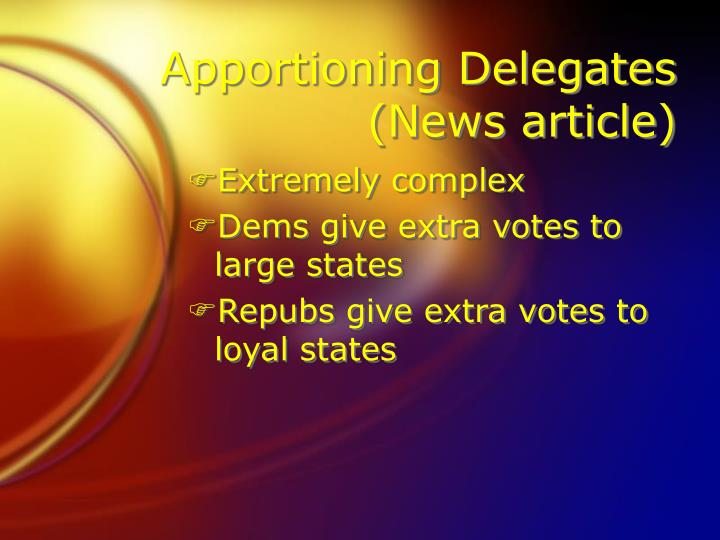 Apportioning Delegates (News article)