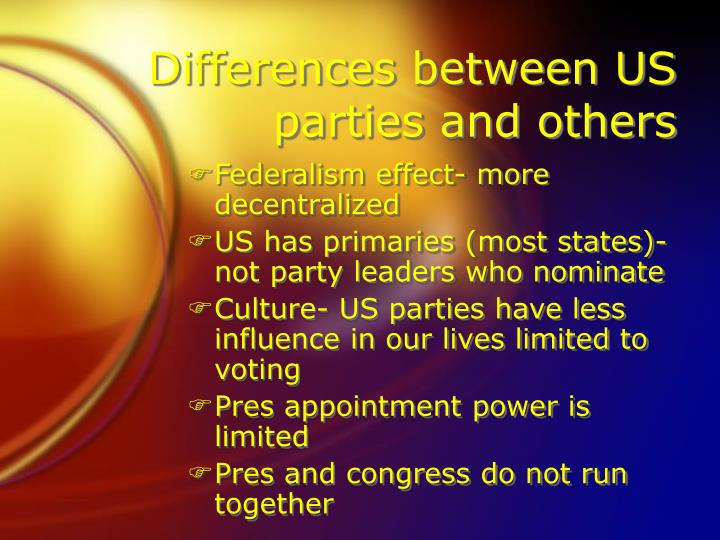 Differences between US parties and others